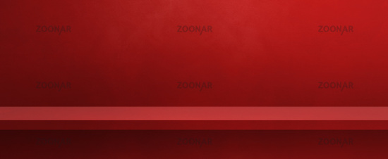 Empty shelf on a red wall. Background template. Horizontal banner