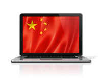 Chinese flag on laptop screen isolated on white. 3D illustration