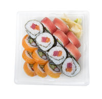 Sushi rolls with salmon and tuna isolated on white background