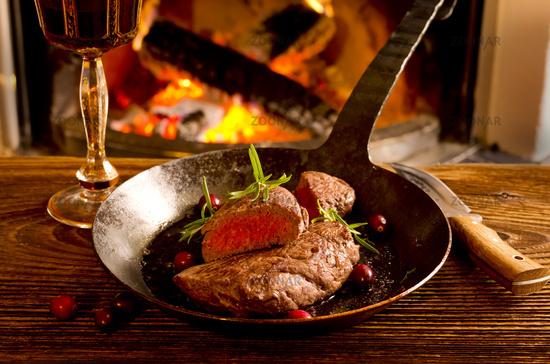 steaks in the fry pan
