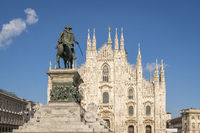 Milan cathedral Duomo and Vittorio Emanuele statue