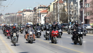 Bikers celebrated the opening of motorcycling season by ride over city in Sofia