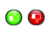 Feedback buttons like dislike thumbs up down in green and red vector