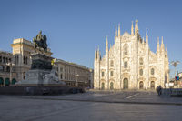 Milan cathedral and Vittorio Emanuele statue in Piazza Duomo square