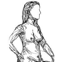 Close-up Female Human Figure Model Posing and Sitting in the Nude Viewed from Side Doodle Art Continuous Line Drawing