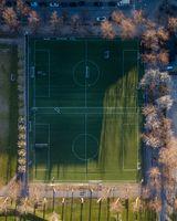 Drone View of Soccer Fields in Norrebro, Copenhagen