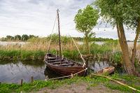 The long ship is for the Vikings. Boat Drakkar. Viking transport ship. Historical reconstruction.