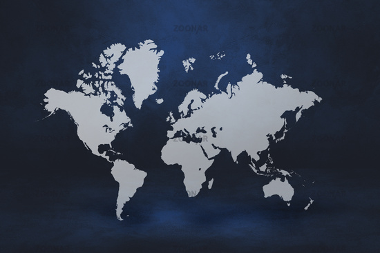 World map on black wall background. 3D illustration
