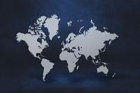 World map on black wall background. 3D illustration