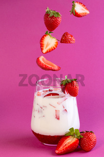 Strawberry milk in a glass.