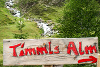 Signpost to the Timmelshütte at the Timmelsjoch in South Tyrol, Italy