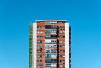 Apartment Building against blue sky in Madrid, Spain