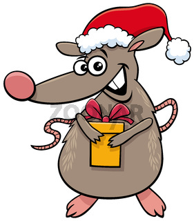 cartoon rat animal character with gift on Christmas time