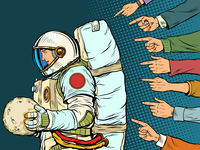 A guilty astronaut with a planet in his hands. Everyone criticizes the cosmonaut