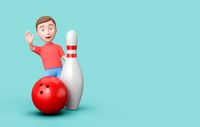 Kid 3D Cartoon Character with a Skittle and Bowling Ball on Blue with Copy Space