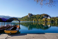 view of Lake Bled with the Bled Castle and village in autumn