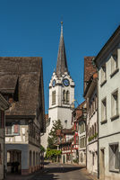 Old town with Protestant church in Berlingen on Lake Constance, Canton Thurgau, Switzerland