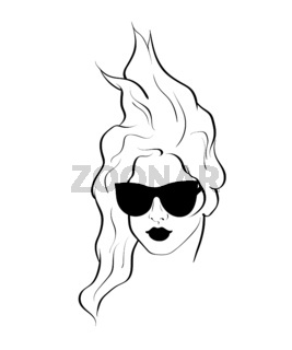Fashion monochrome design sketch woman in style pop art
