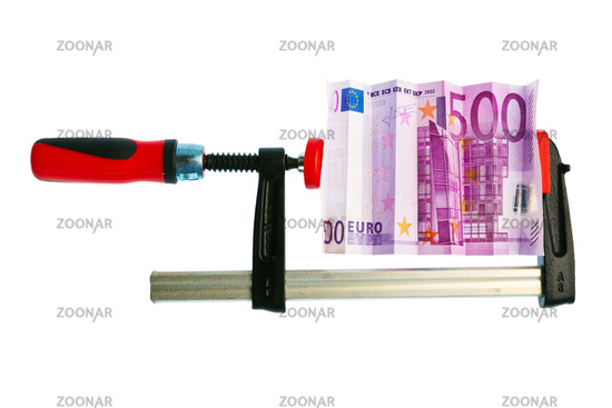Euro currency note in screw clamp