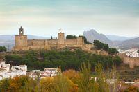 Landscape of Alcazaba of Antequera with mountain Pena de los Enamorados in Spain