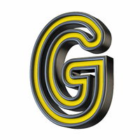 Yellow black outlined font Letter G 3D