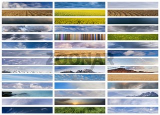 Banners collage: sky, ground and water