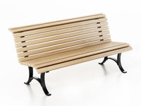 Wooden park bench isolated on white background. 3D illustration