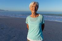 Senior Caucasian woman enjoying time at the beach