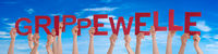 People Hands Holding Word Grippewelle Means Flu Epidemic, Blue Sky