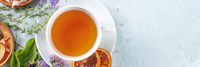 Herbal tea panorama with copy space. Herbs, flowers and fruit