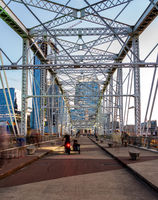 John Seigenthaler pedestrian bridge or Shelby street crossing as dusk falls in Nashville