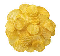 Ridged potato chips isolated on white background, top view