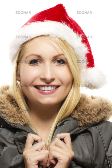 beautiful laughing blonde woman in a parka wearing