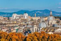 Rome Italy, high angle view city skyline at Rome city center with autumn foliage season