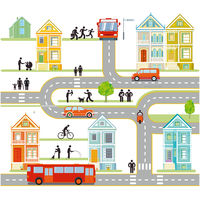 City silhouette with traffic and people, infographic, community, city map illustration