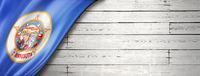 Minnesota flag on white wood wall banner, USA
