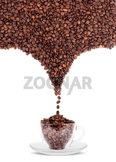 Cup of coffee with seed isolated on a white background