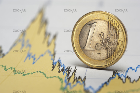 euro coin and finance business chart