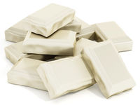 White chocolate tablet parts isolated on white background. 3D illustration