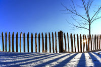 Fence in the back light with shadow in winter