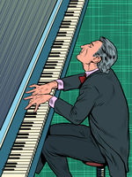Male musician plays the piano. Jazz or classical music, concert
