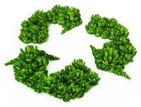 Green bushes forming recycle symbol. 3D illustration