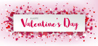Hearts Pink Happy Valentines Paper Banner