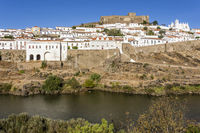 old town of Mértola with castle and Guadiana river, Alentejo, Portugal