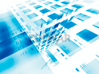 Abstract blue and white 3d illustration - computer generated background