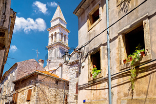 Town of Vodnjan stone street and church view