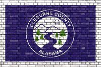 flag of Cleburne County, Alabama painted on brick wall