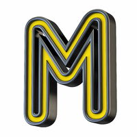 Yellow black outlined font Letter M 3D