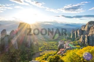 Greek Rocky Monastery at Sunset