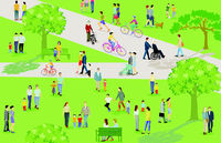 Families and other people have leisure time in the city park illustration